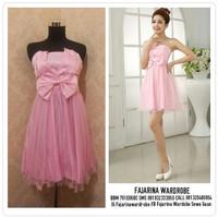 Gaun Pesta Bridesmaid Sweet Seventeen Pink Mini Dress Party