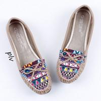 Jual PROMO Sepatu Flat Shoes Flatshoes Wanita Etnik Gratica RJ43 Cream Murah