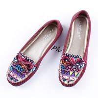 Jual DISKON Sepatu Flat Shoes Flatshoes Wanita Etnik Gratica RJ43 Maroon Murah