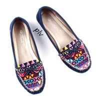 Jual Promo ! Sepatu Flat Shoes Flatshoes Wanita Etnik Gratica RJ43 Navy Murah
