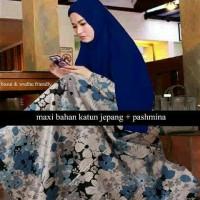 Hijab Maxi Wulan Flower / gamis hijab premium muslimah / dress butik