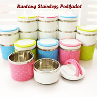 Jual  Polkadot - Lunch Box Rantang / Rantang Stainless 3 Susun Baru Murah