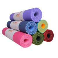 Jual Yoga Mats TPE / Matras Yoga 6 mm double color (free tali matras) Murah