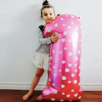 Jual Balon foil Angka /Biru / Pink / Uk 80cm Murah