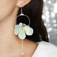 Jual Anting Flower Pearl Pendant Earrings Blue+Yellow Murah