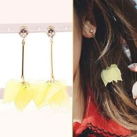 Anting Flower Pendant Long Simple Wild Jewelry Earrings Yellow