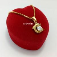 Kalung Emas Cewek Lumba Titanium Gold Dolphin Necklace Fashion Murah