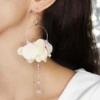 Jual Anting Flower Pearl Pendant Earrings Pink+Yellow Murah