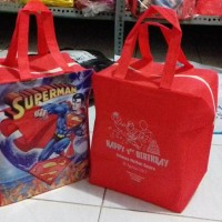 Jual goodie bag resleting banner Superman Murah