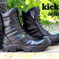 SEPATU BOOT TINGGI PRIA KICKERS BOOT SAFETY BLACK HIGH SLETING LEATHER