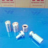 Pen Iklan 25 x 40 mm Stainlees Steel/ Baut Acrylic/Kaca/Glass Holder