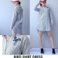 Baju Kemeja Terusan Wanita Bird Shirt Dress Strips Murah