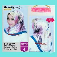 Jual Hijab Segiempat Satin Lamiz by Azzura Motif 4 - Jilbab Scarf Murah Murah