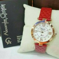 JAM TANGAN WANITA ALEXANDER CHRISTIE AC 2588 LEATHER RED ROSE GOLD