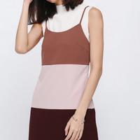 Love Bonito Mini Dress Gyldan Colorblock Camisole Sienna Maroon
