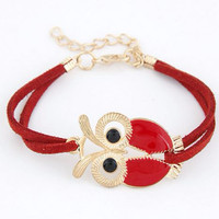 Jual Gelang Korea Multi Charm Simple Owl Red Murah