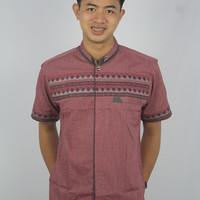 Baju Koko Pria/ Model Lengan Pendek Warna Merah/ Best Quality
