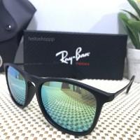 Kacamata Ray Ban Chris Black Doff Sky Blue Green Lens Polarized