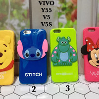 soft case casing vivo v5 v5s y55 pooh stitch monster minnie murah cute
