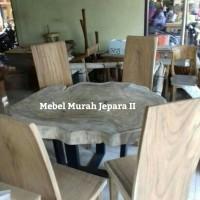 meja makan bulat akar trembesi 9furniture, meja, nakas, kursi, sofa)