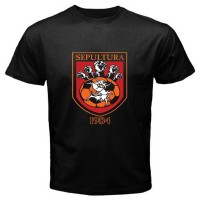 Kaos Keren New SEPULTURA Album Logo Hard Metal Rock Band Men's Black T