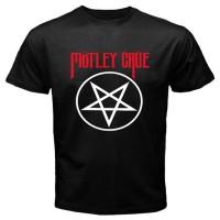Kaos keren New Motley Crue Pentagram Symbol Men's Black Anime T-Shirt