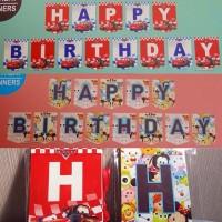 Banner Flag Happy Birthday Cars / Banner Ultah Karakter Cars / Mobil