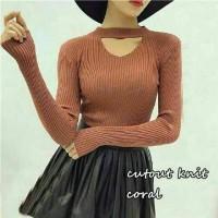 Jual Cut Out Knit Coral Murah