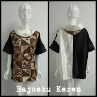 Jual Batik Modern Bahan Danar Hadi Variasi Satin Black and Off White Murah