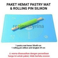 Jual Paket Pastry Mat + Rolling Pin Silikon (silpat silmat fondant workmat) Murah