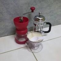 Jual paket coffee maker set alat kopi french press grinder filter cup Murah