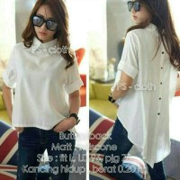 Jual BUTTON BACK Twiscone bw white putih blouse top Murah