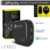 Jual UNEED SMART TRAVEL CHARGER QUALCOMM quick charge 3.0 USB TYPE C Murah