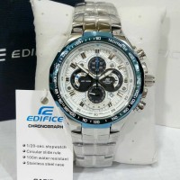 jam tangan pria casio edifice ef-554 oribm silver anti air