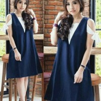 Jual Dress alexis navy.mv 57.000 Twiscone fit L kombi white nyatu fit L ld1 Murah