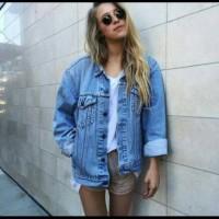 Jual Jacket jeans levis bio biru oversize man and woman premium quality Murah