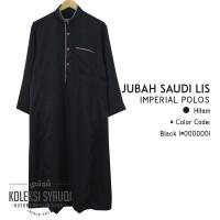 Jubah Saudi Lis Imperial Polos - Hitam