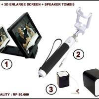 Jual Promo 3 in 1 speaker pembesar layar tongkat narsis good quality Murah