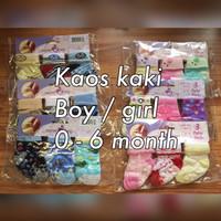 Jual SPESIAL Kaos Kaki (socks) Bayi 3 in 1 Boy / Girl 0-6 months  PALING LA Murah