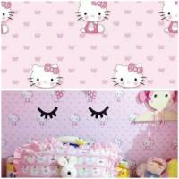 Grosir Murah - Wallpaper Sticker Dinding Hello Kitty Pink 10 M x 45 cm