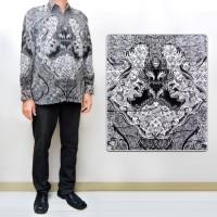 Jual 013 Kemeja Batik MONOCHROME Semi Sutra Lengan Panjang Pria Modern Murah