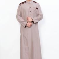 Jual Jubah Muslim Gamis Pria Cordova Krem List Coklat Kopi AL-ISRA Murah