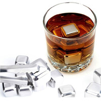 Jual Es Batu Stainless / Reusable Stainless Steel Ice Cube 6Pcs / Murah