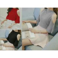 Jual Blouse cut out top rajut/blouse open shoulder rajut/atasan wanita/off Murah