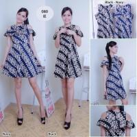 Jual Dress Batik Wanita - Baju Dress Batik - Batik Moderen - Sabrina Style Murah