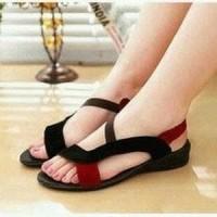Jual Murah// [Koleksi Terbaru] Sandal Wanita Flat Xena Red Black Murah