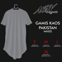 Jual baju kaos gamis pakistan lengan pendek putih,baju koko pria Murah