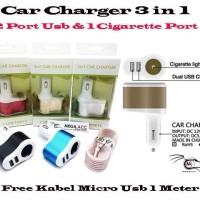 Jual Car Charger Power 3 in 1 ( Cigarette Lighter + 2 Port Usb )   Murah