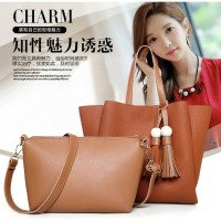 Tas Fashion Coklat 2 in 1 Selempang Jinjing Handbags Modis Wanita