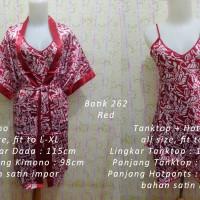 Jual Kimono Satin 3in1 Batik 262 Red Baju Tidur Piyama Stelan Wanita Murah Murah